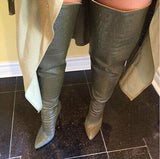 Croc Embossed Thigh High Boots