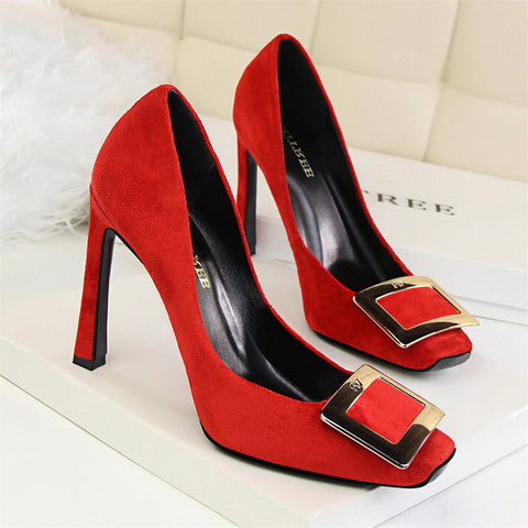 Suede Metal Buckle Banana Heel High Heel Pumps