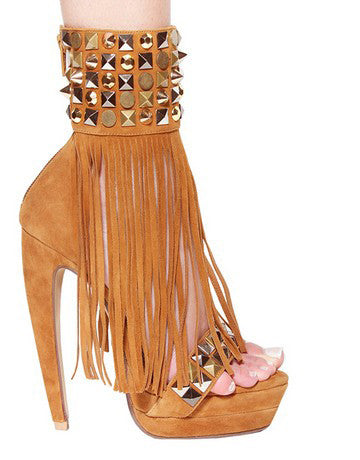 Handmade Genuine Leather Suede Long Tassels Sandals