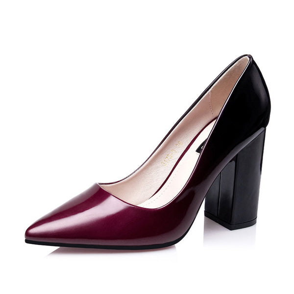 Patent Leather Ombre Thick Heel Pump