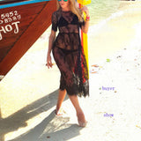 Short Sleeve O Neck See Through Beach Lace Cover Up Dress