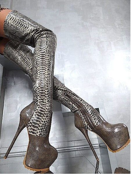 Genuine Leather Croc-Embossed Thigh High Platform Boots