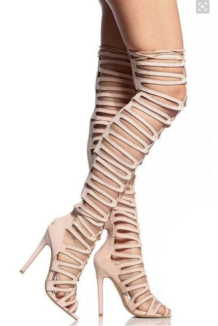 6644244f4d7f Cut-Outs Lace Up Thigh Highs Gladiator Heels – THULI NYC