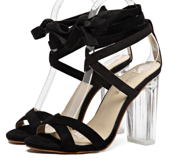 Celebrity Inspired Suede and PVC Clear Transparent Strappy Buckle Sandals High Heel