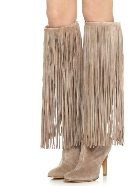 luxury Designer Nelli Tessel Fringe Suede Gladiator Knee HIgh Boots