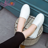 Casual Muffin Thick Bottom Plush Leather Loafers