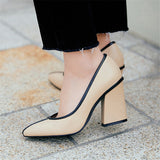 Handmade Genuine Leather Square Heel Two Toned Pumps