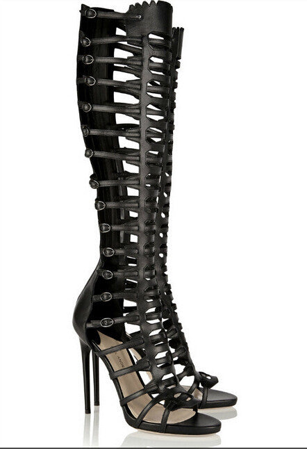 16fe6da848f9f Genuine Leather Knee High Tall gladiator Cage High Heel Sandals ...