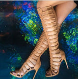 Genuine Leather Knee High Tall gladiator Cage High Heel Sandals