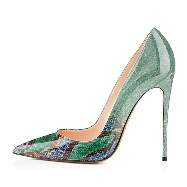 Ombre/Green Snake Ombre Patent Leather Classic Pumps