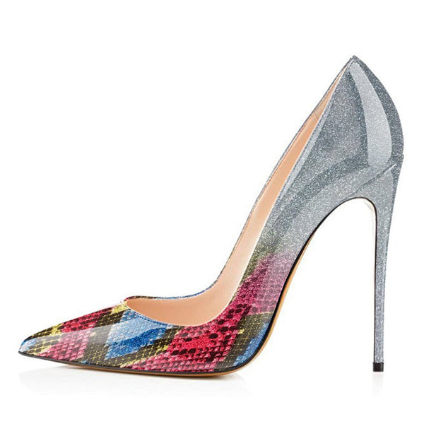 Ombre/Silver Snake Ombre Patent Leather Classic Pumps