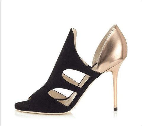4c0153a25373 Handmade Suede and Patent Leather Cut-Out Peep Toe High Heels