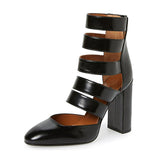 Patent Leather Ankle Gladiator Block Heel Sandals