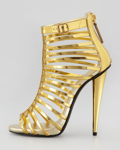 High Fashion All Gold Patent Leather Caged Gladiators