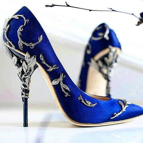 Ornate Filigree Leaf Satin Stiletto Heels
