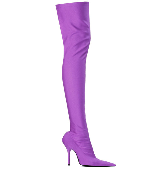 Satin Purple Thigh High Boots