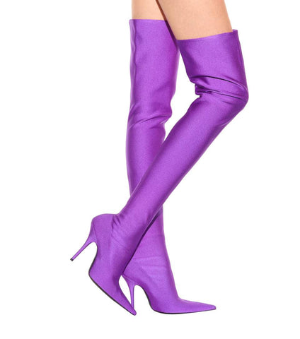 Satin Over The Knee Purple Thigh High Boots
