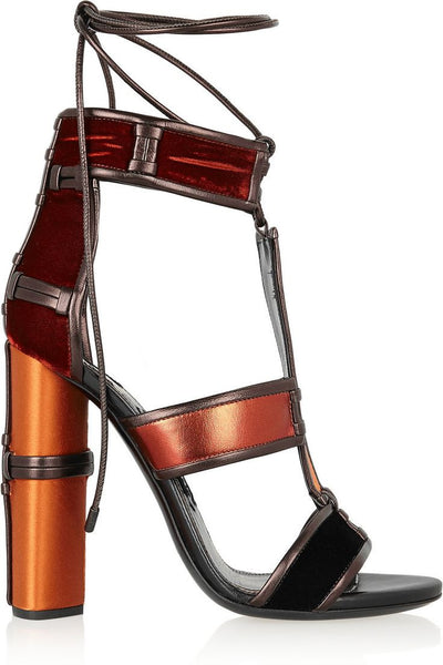 Patchwork Velvet and Jeans Chunky High Heel Sandals