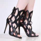 Patent Leather Peep Toe High Heels Cut-outs Gladiator Sandals