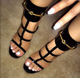 Patent Leather T-Straps Metal Buckle Open Toe Sandals