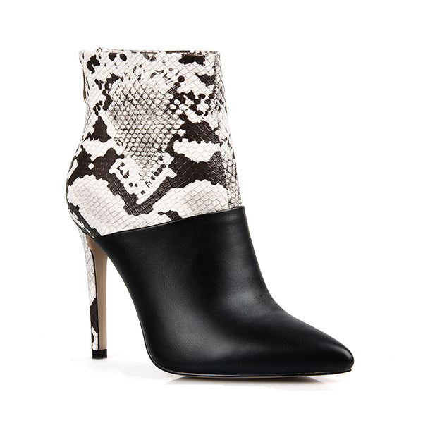 Handmade Patchwork Snakeskin and Leather Ankle Boots
