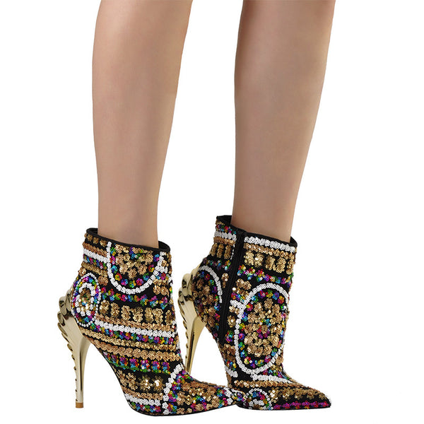Rainbow Dazzle Ankle Boots
