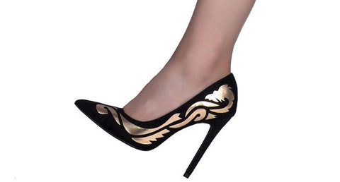 Dragon Lady Gold ad Black High Heel Pumps