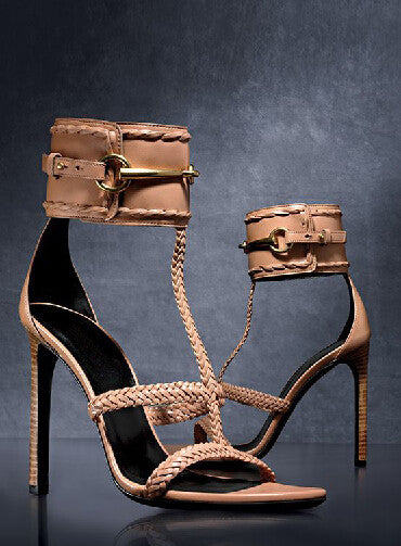 Weaved Leather Straps Pencil Heel Sandals