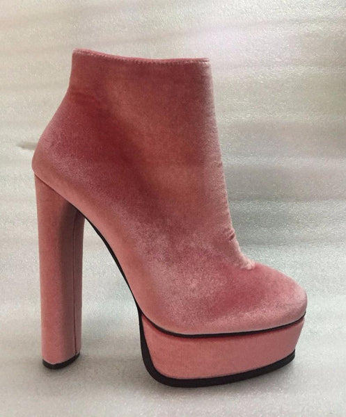 Velvet Platform Ultra High Ankle Boots