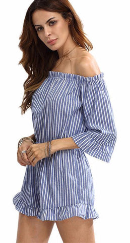 Cold and Striped Cotton Rompers