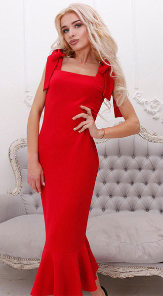 Lady Friday Tie Sleeve Midi Pencil Dress