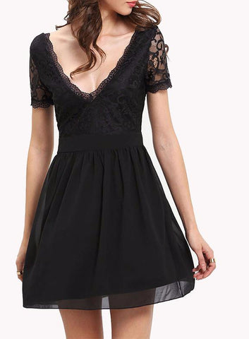 Lace and Chiffon Splice Double V-Neck Mini Dress