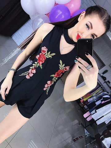 Flower Embroidery Highwaist Vintage Romper