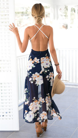 Backless Cross Back Lace and Flowers Chiffon Maxi Dress