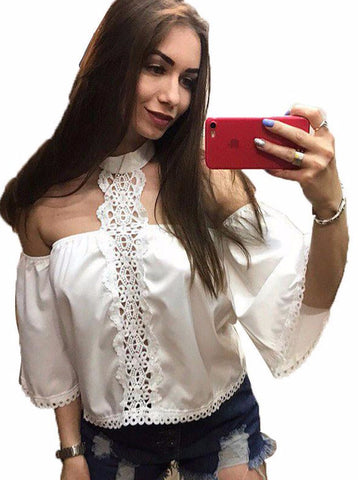All White Off The shoulder Lace and Cotton Shirt