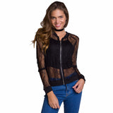 Transparent Lace Bomber Jacket