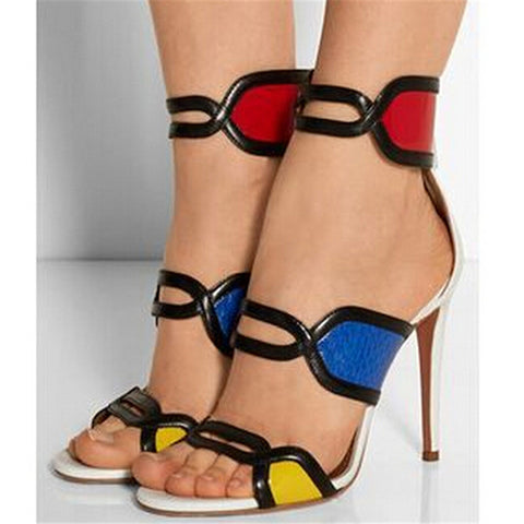 ec8fad168957 Red Blue Yellow Patchwork High Heel Mixed Colored Cut Out Sandals