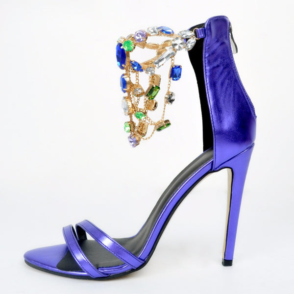 Genuine Leather Violet Rhinestone Ankle Wrap Sandals