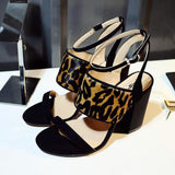 Genuine Leather and Mohair Leopard Skin Block Heel Sandals