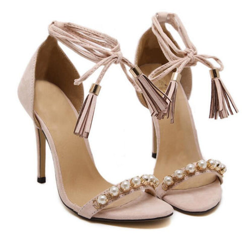 Cross Tied Suede and Pearls Ankle Strap Tassels Sandals