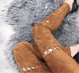 Double Trouble Suede Lace Up Skinny Pants
