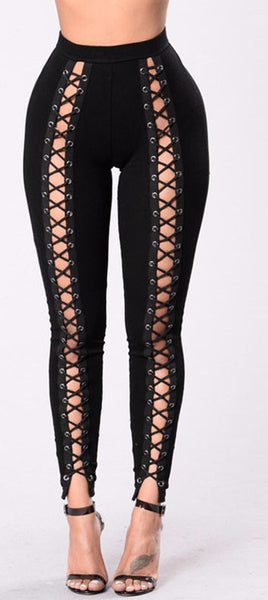 Night and Day Lace Up Skinny Pants