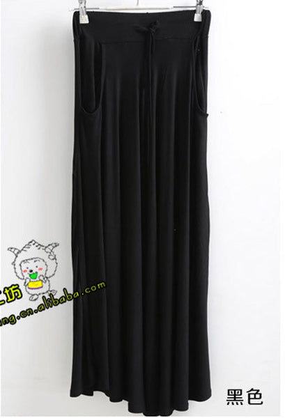 Pleated Modal Cotton Casual Ladies Drawstring Maxi Skirts