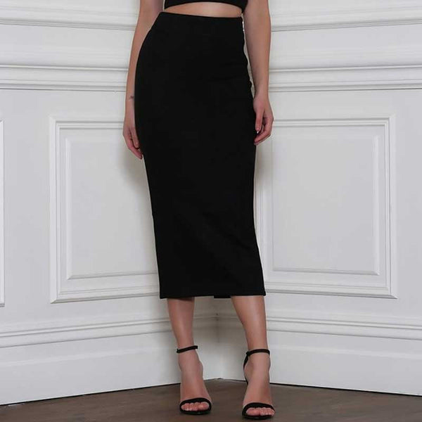 Vintage High Waist Suede Back Split Midi Skirt