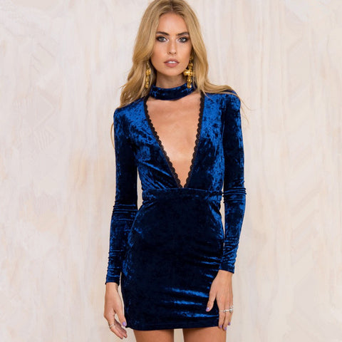Lace Trimed Deep V-Neck Long Sleeve Velvet Mini Dress