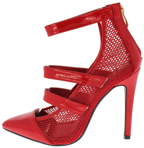 RED MESH POINTED TOE HEEL