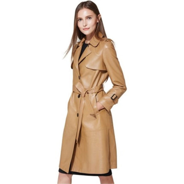 Elegant Simple Genuine Leather Trench Coat