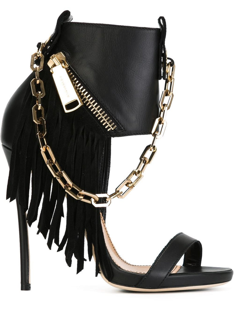 693783b1e614 Handmade Genuine Leather Chains and Tassels High Heel Sandals ...