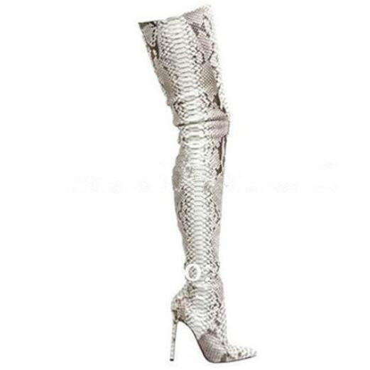 Red Bottom Genuine Leather Pointed Toe Python Over The Knee Thigh High Boots