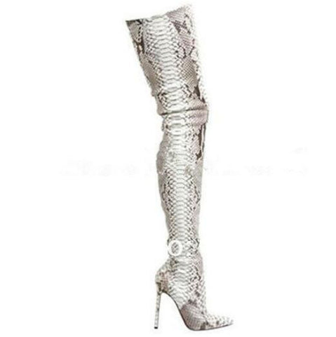 1f21a871df5b2 Red Bottom Genuine Leather Pointed Toe Python Over The Knee Thigh High Boots